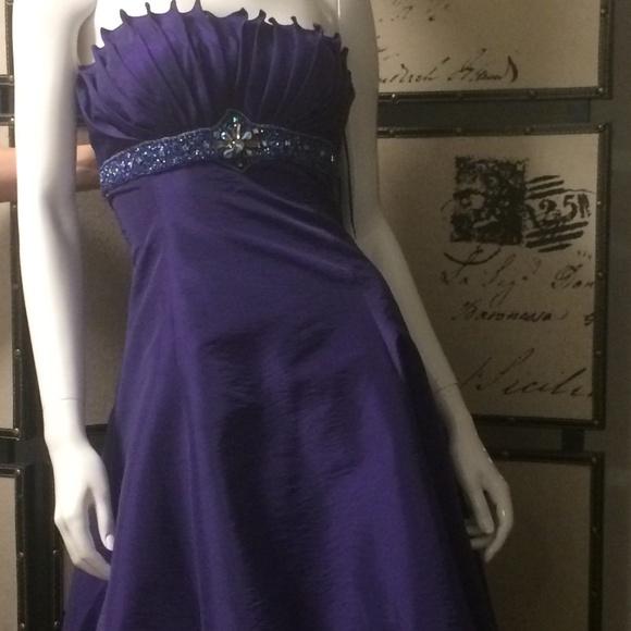 Purple hi-low prom dress